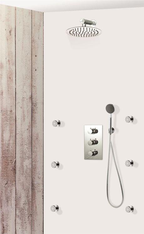 colonne de douche encastrable murale et ronde compl te avec thermostatique 3 fonctions cavour. Black Bedroom Furniture Sets. Home Design Ideas