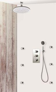 colonne de douche encastrable plafond et ronde compl te avec thermostatique 3 fonctions. Black Bedroom Furniture Sets. Home Design Ideas