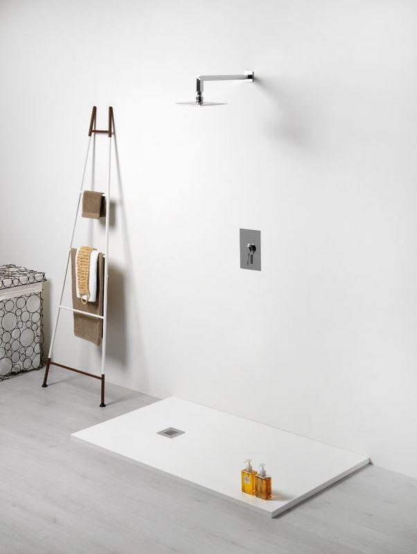 receveur de douche extra plat en r sine texture pierre 80x140cm paisseur 28mm blanc. Black Bedroom Furniture Sets. Home Design Ideas