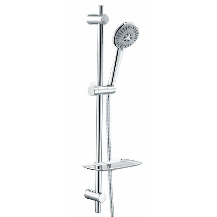 barre de douche ronde en inox r glable sp ciale r novation avec douchette 5 jets et porte savon. Black Bedroom Furniture Sets. Home Design Ideas