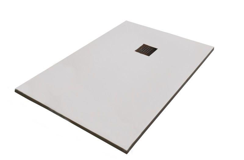 receveur de douche extra plat en r sine texture pierre 90x120cm paisseur 28mm blanc. Black Bedroom Furniture Sets. Home Design Ideas