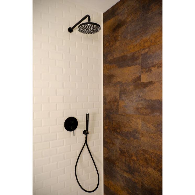 colonne de douche encastrable murale et ronde trento noir. Black Bedroom Furniture Sets. Home Design Ideas