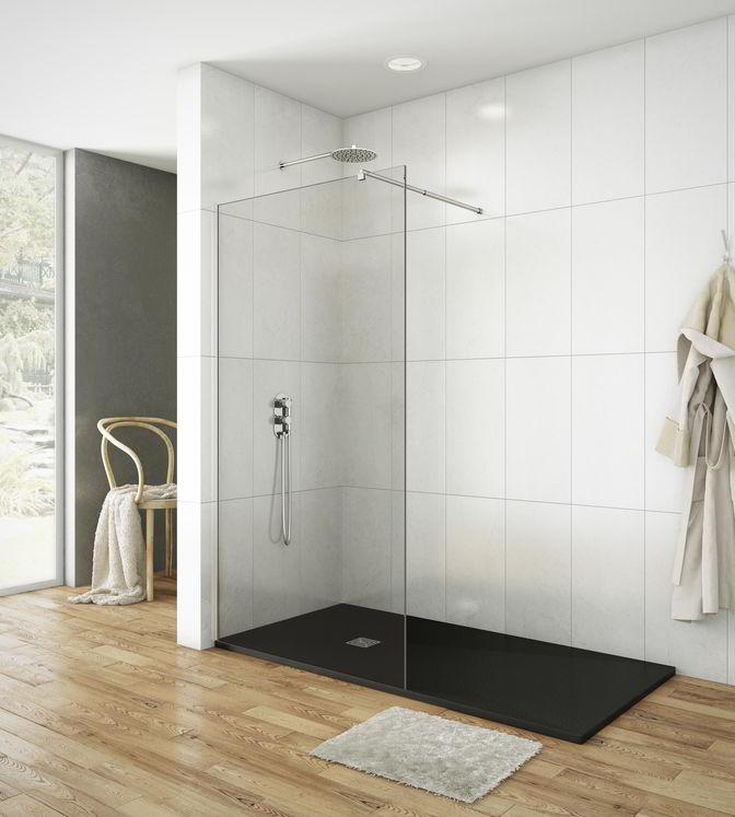 Paroi de douche fixe verre transparent 8mm avec barre de stabilisation sarodis - Paroi de douche 100 ...