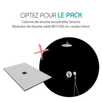 Pack receveur de douche 80x120cm blanc texture pierre ultra l ger et colonne de douche enca - Receveur de douche encastrable ...