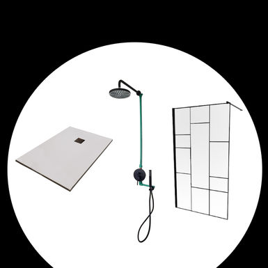Kit de douche avec receveur de douche 90x120cm blanc - Kit receveur douche italienne ...