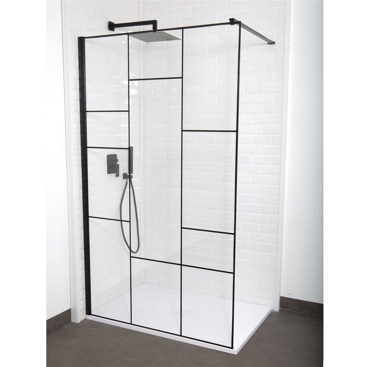 Paroi de douche verri re fixe verre transparent et serigraphie noire 6mm sarodis - Paroi de douche 100 ...