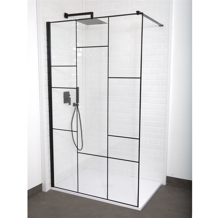 paroi de douche verri re fixe verre transparent et serigraphie noire 6mm sarodis. Black Bedroom Furniture Sets. Home Design Ideas