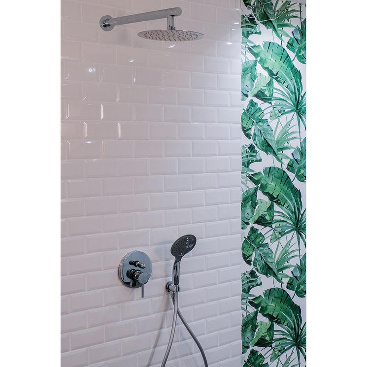 colonne de douche encastrable murale et ronde loto compl te avec mitigeur 2 fonctions et. Black Bedroom Furniture Sets. Home Design Ideas