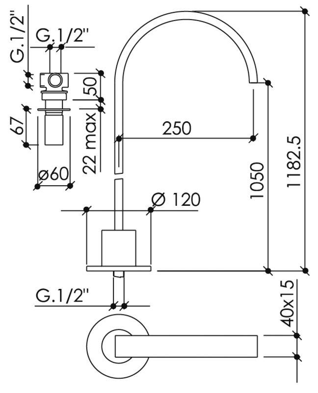 mitigeur lavabo haut alimentation par le sol encastrer. Black Bedroom Furniture Sets. Home Design Ideas
