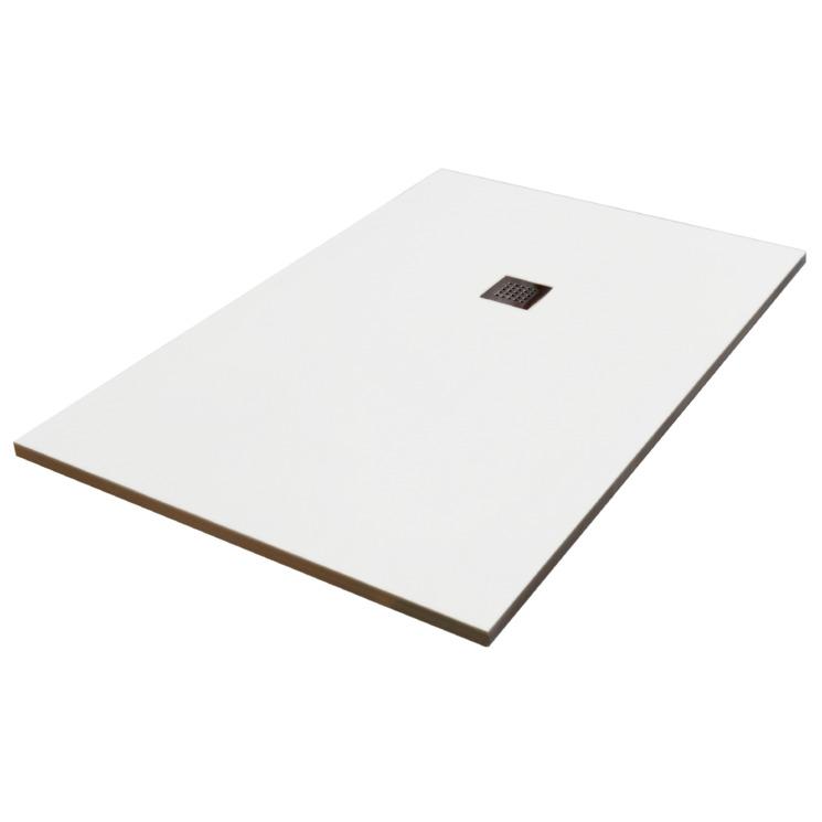 receveur de douche extra plat en r sine finition pierre 90x140cm paisseur 28mm blanc ultra. Black Bedroom Furniture Sets. Home Design Ideas