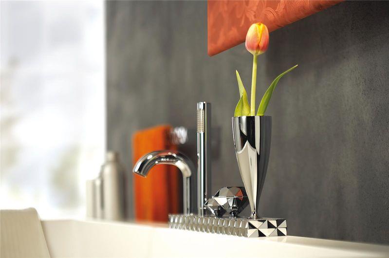 mitigeur bain douche quatre trous sur plan avec vase int gr et douchette. Black Bedroom Furniture Sets. Home Design Ideas