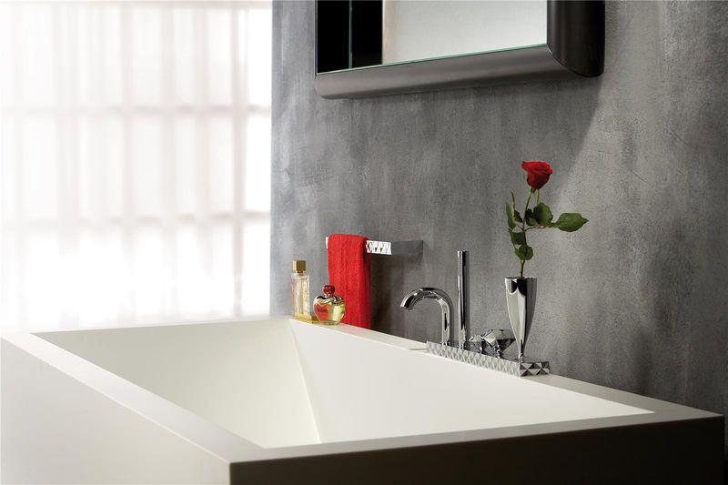 mitigeur bain douche quatre trous sur plan avec vase intégré et ... - Robinet De Baignoire Avec Douchette