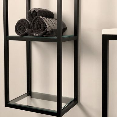 Colonne de rangement suspendue avec 5 étagères en verre ...