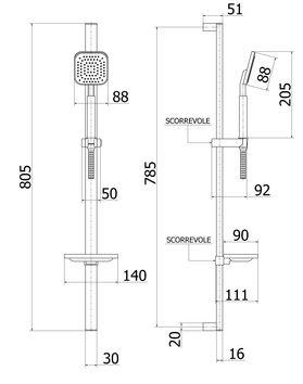 barre de douche rectangulaire avec porte savon en inox avec douchette 1 jet. Black Bedroom Furniture Sets. Home Design Ideas
