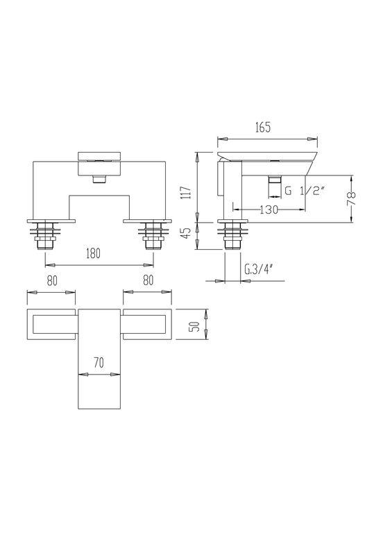 mitigeur de baignoire carr sur gorge razor avec bec large. Black Bedroom Furniture Sets. Home Design Ideas