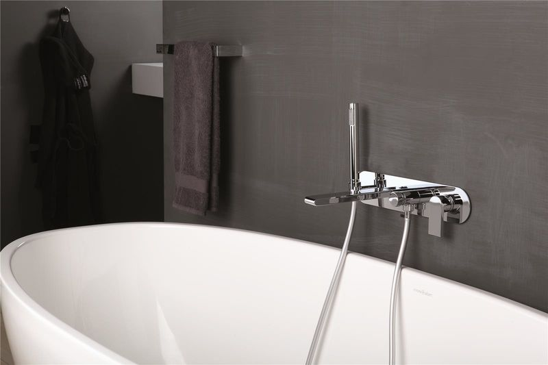 mitigeur bain douche encastrable rond avec plaque et douchette. Black Bedroom Furniture Sets. Home Design Ideas