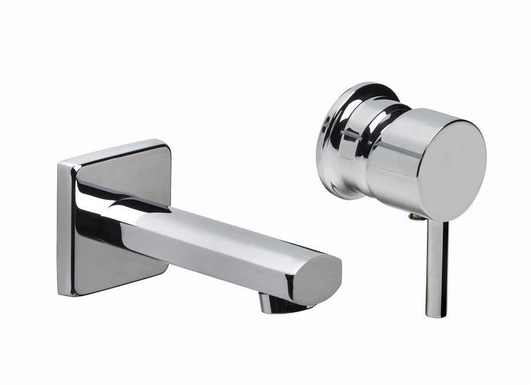 Mitigeur lavabo mural 2 trous spécial cloison fine, bec Q-EMME