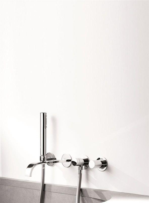 Mitigeur bain douche mural encastrable trois trous sans plaque