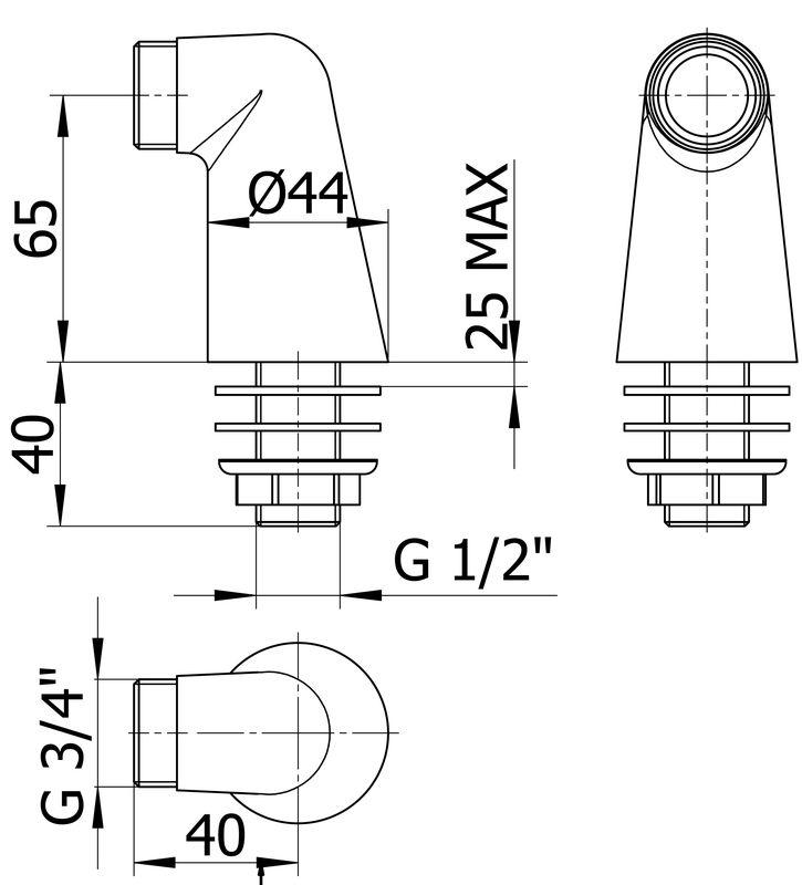 Raccord colonnette chromé pour mitigeur de baignoire la paire