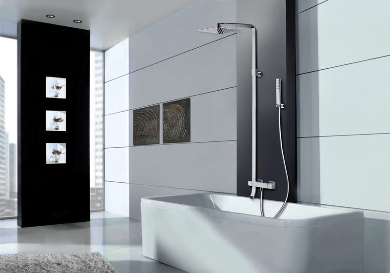 colonne de baignoire thermostatique carr e t l scopique avec douche de t te. Black Bedroom Furniture Sets. Home Design Ideas