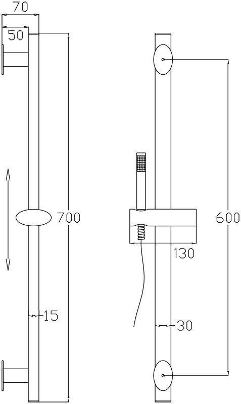 barre de douche ovale en inox avec douchette 1 jet. Black Bedroom Furniture Sets. Home Design Ideas
