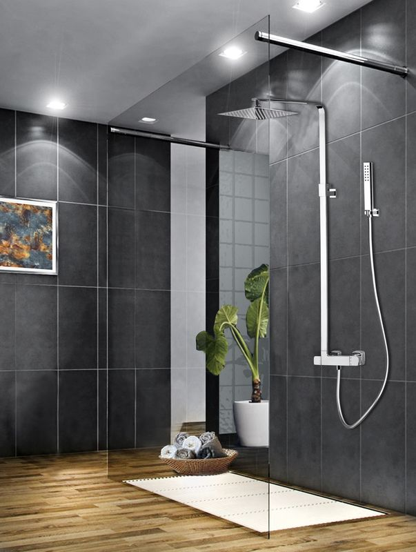 Colonne de douche thermostatique slim t lescopique avec - Pomme de douche carree ...