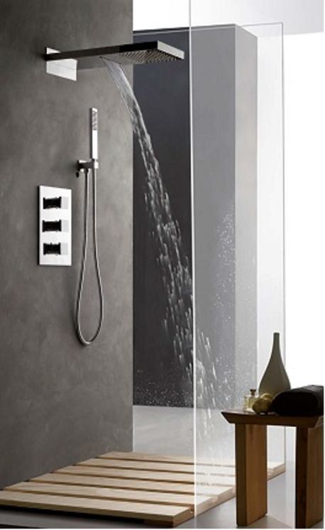 colonne de douche encastrable murale et cascade compl te avec thermostatique 3 fonctions. Black Bedroom Furniture Sets. Home Design Ideas