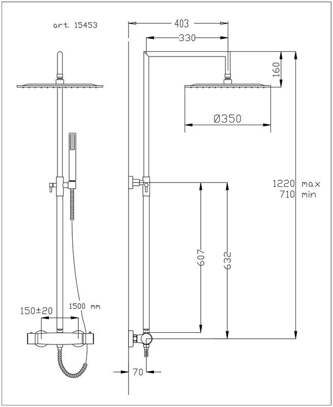colonne de douche thermostatique linea ultrafine. Black Bedroom Furniture Sets. Home Design Ideas