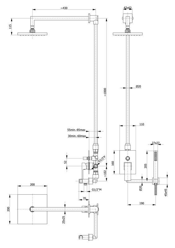 ensemble de douche mural encastrable carr loba complet avec mitigeur 2 fonctions et. Black Bedroom Furniture Sets. Home Design Ideas