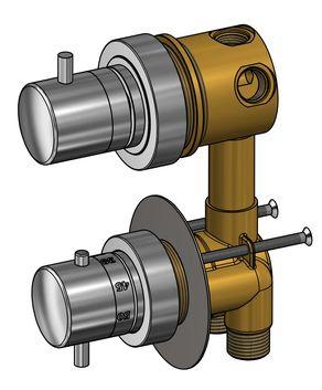 Robinet mitigeur thermostatique pour cabine de douche avec inverseur trois fonction - Cabine de douche pour camping car ...