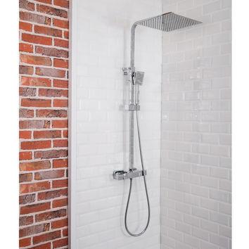 Colonne de douche thermostatique carr e diamant for Pose d une colonne de douche