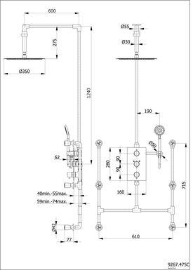 colonne de douche encastrable plafond et ronde compl te avec thermostatique 3 fonctions perrero. Black Bedroom Furniture Sets. Home Design Ideas