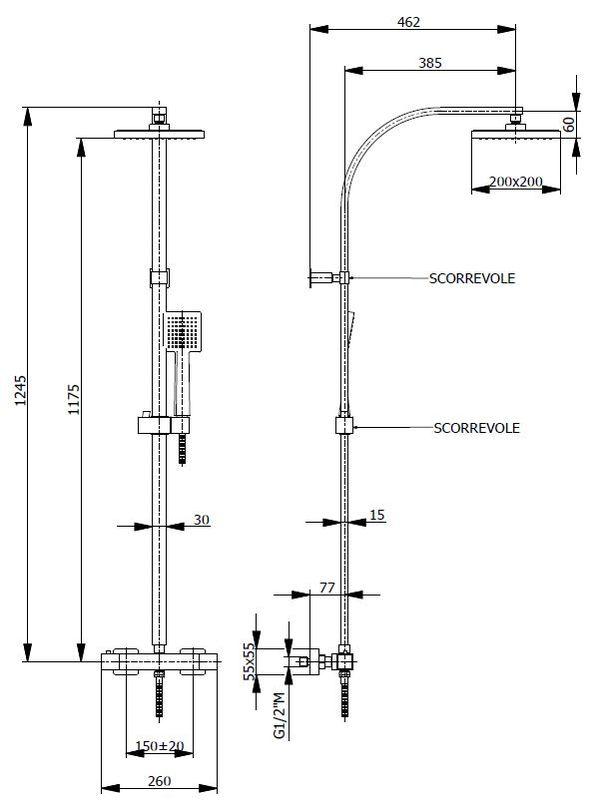 colonne de douche thermostatique carr e avec douche de t te carr e. Black Bedroom Furniture Sets. Home Design Ideas